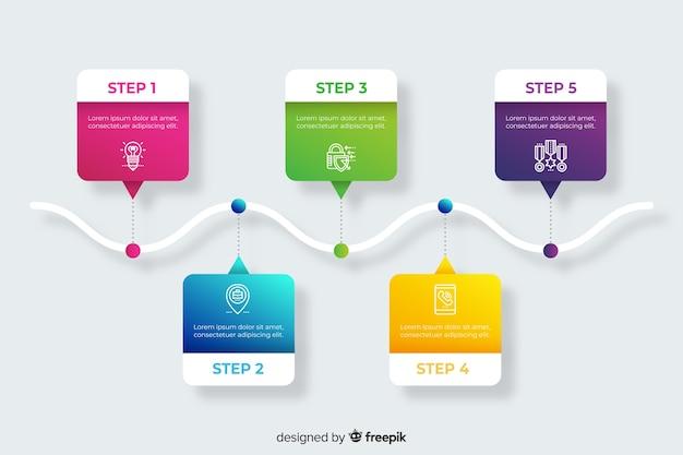 ステップのグラデーションインフォグラフィックセット
