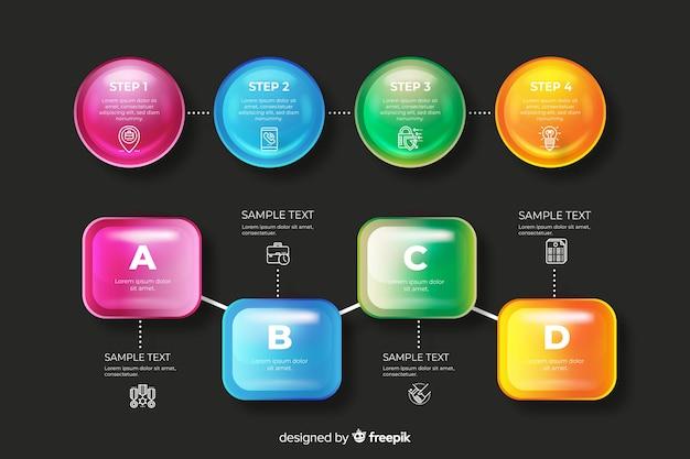 Набор реалистичных глянцевых инфографики элементов