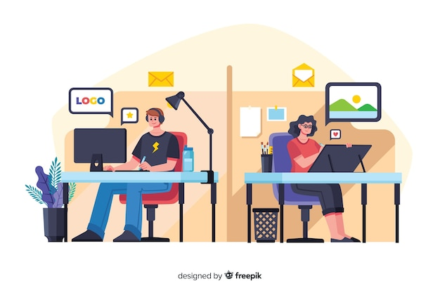 机に座ってフラットなデザインのオフィスワーカー