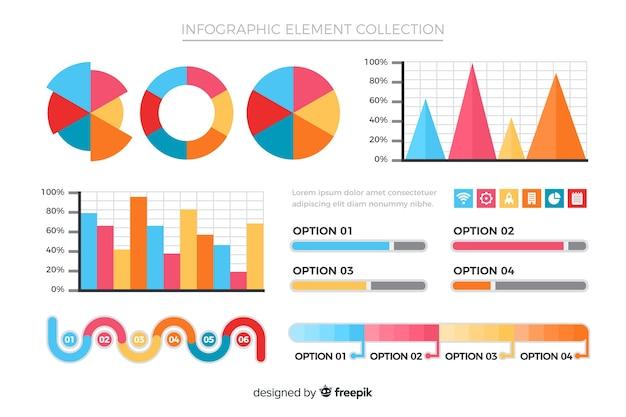 フラットインフォグラフィック要素のコレクション