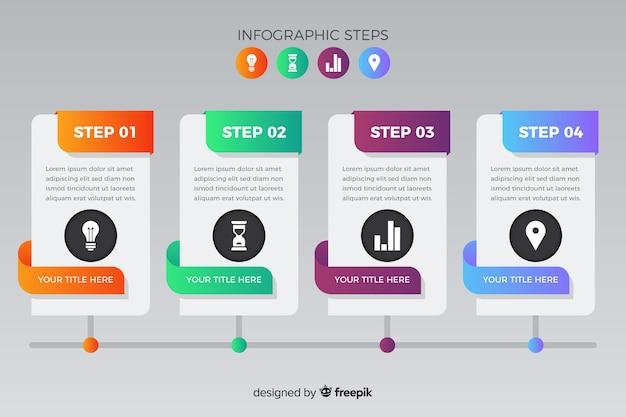Пакет градиентных инфографических шагов