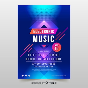 Красочный абстрактный шаблон электронной музыки плакат