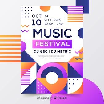 Красочный геометрический музыкальный плакат в стиле мемфис