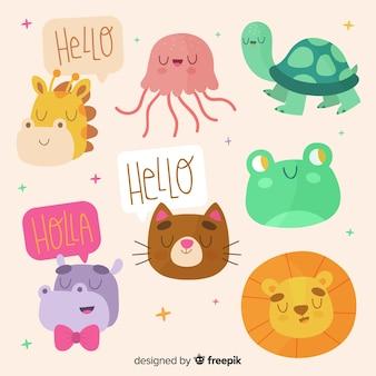 かわいいカラフルな動物コレクション