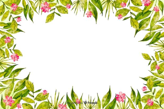 花の背景を持つ水彩画フレーム