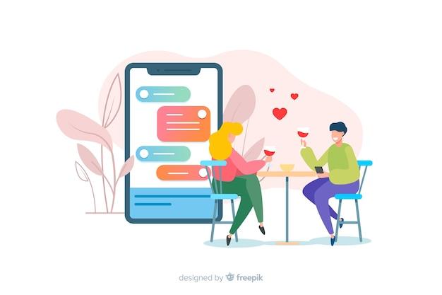 男の子と女の子のイラストとアプリのコンセプトをデート