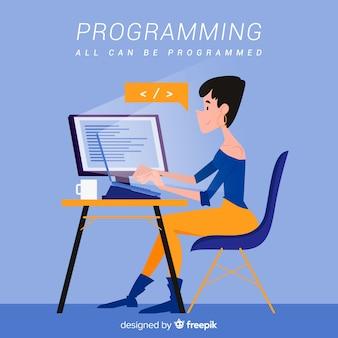 Программист в мультяшном стиле работает