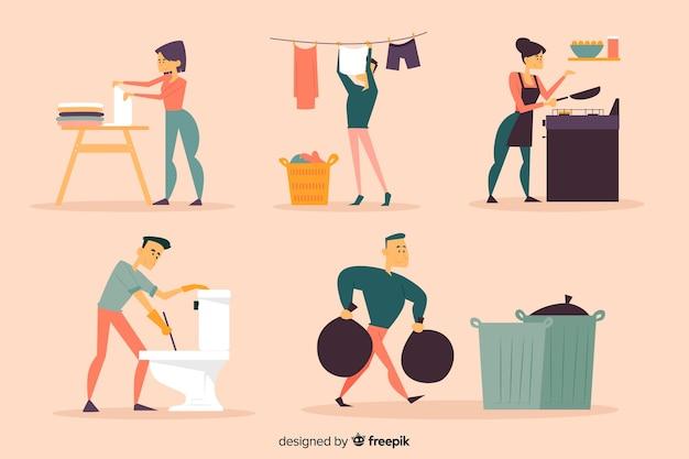 Молодые люди делают работу по дому
