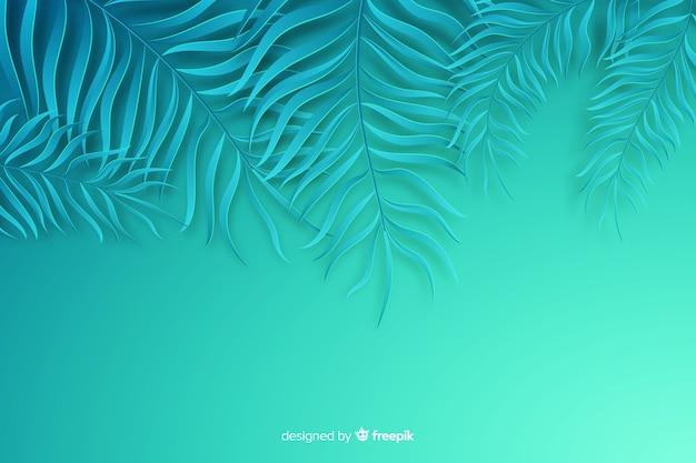 紙のスタイルで青い葉の背景