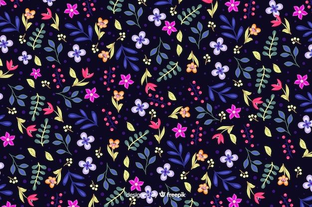 Красочные цветы на темном фоне