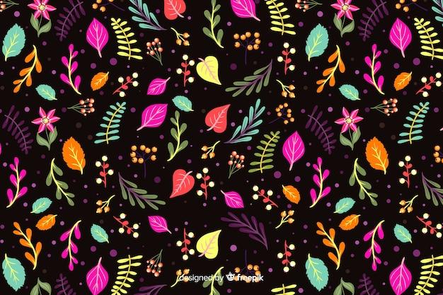 Красочные цветы на черном фоне