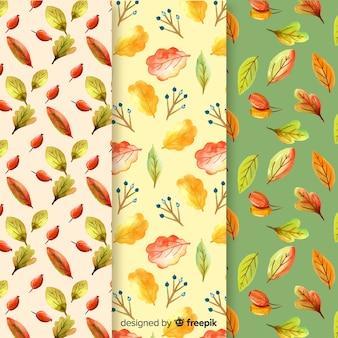 水彩秋パターンコレクション
