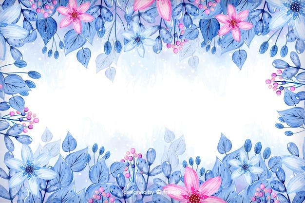 ピンクの花の背景を持つ水彩画フレーム