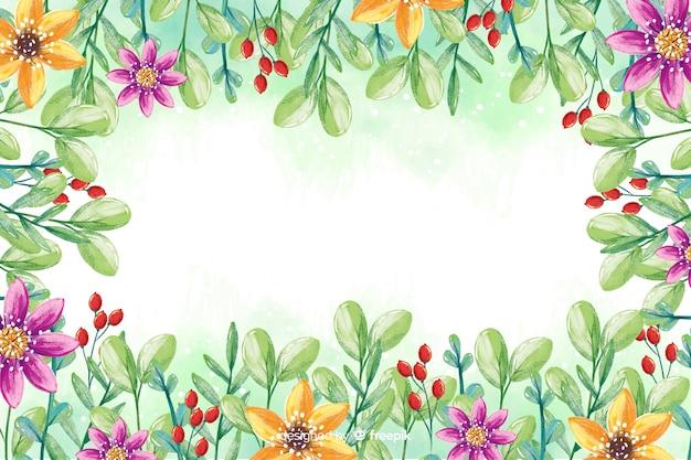 色とりどりの花の背景を持つ水彩画フレーム