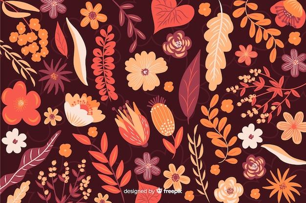 フラットなデザインの花の背景