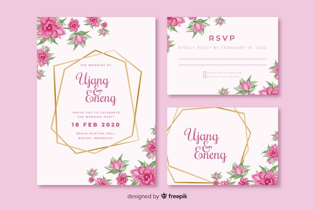 ピンクの花の結婚式の招待状のテンプレート