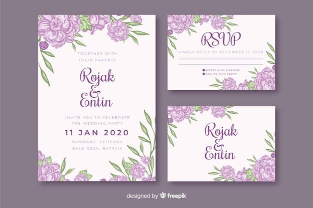 紫の花の結婚式の招待状のテンプレート