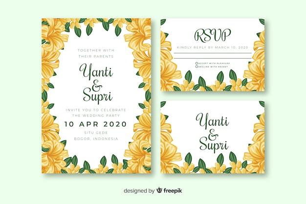 黄色の花の結婚式の招待状のテンプレート