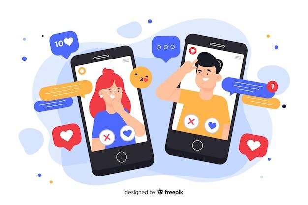 ソーシャルメディアのアイコンの概念図に囲まれた携帯電話