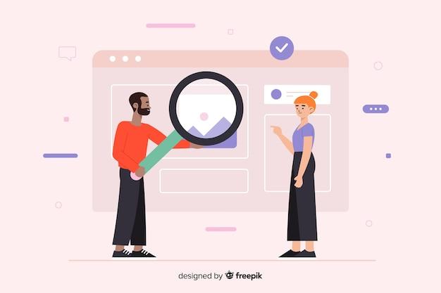 フォルダー検索の概念を含むランディングページ