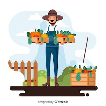 Сельскохозяйственный человек с корзинами, полными овощей