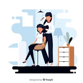 暇なときに美容院で女性