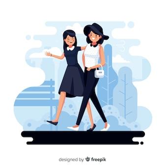 一緒に街を歩く女性