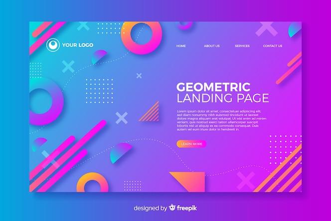 グラデーション付きの幾何学的なランディングページ