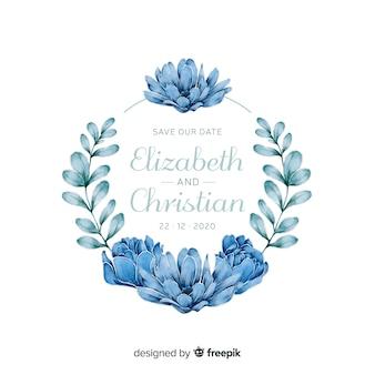 水彩風の青い花のフレームの結婚式の招待状