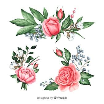 Красивая акварельная коллекция цветочных букетов