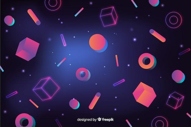キューブとレトロな幾何学的な背景