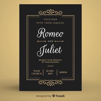 黒のレトロな結婚式の招待状のテンプレート