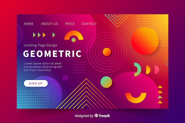 グラデーション付きのモダンな幾何学的なランディングページ