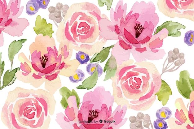 ピンクの水彩花の背景
