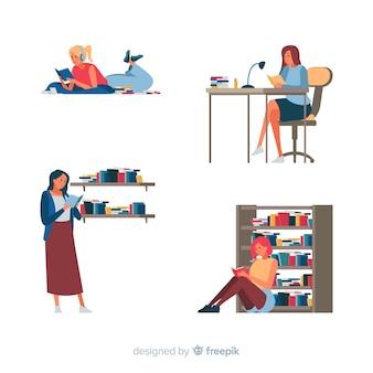 若い男性と女性の読書の束