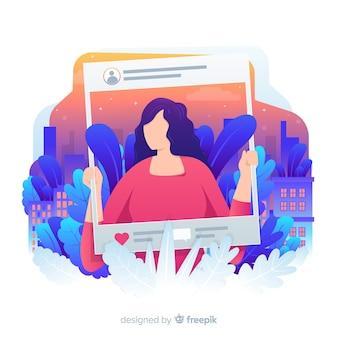 ソーシャルメディアの紅葉背景を持つ女性
