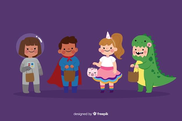 Плоская коллекция детских костюмов хэллоуина