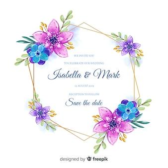 水彩風のカラフルな花のフレームの結婚式の招待状