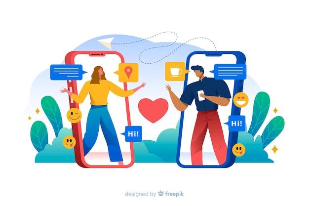 Люди, соединяющиеся через знакомства приложение концепции иллюстрации