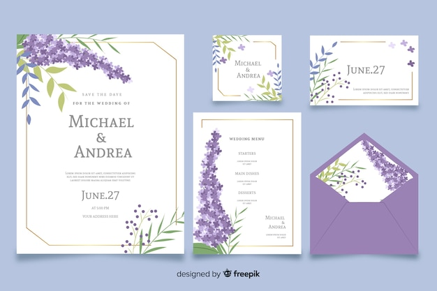Фиолетовый плоский дизайн свадебного бланка шаблона