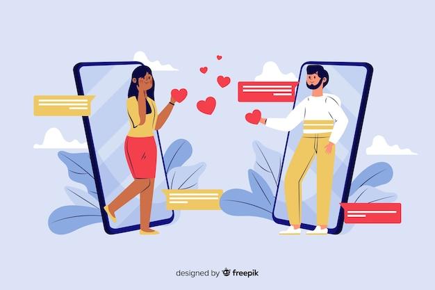 Плоская инфографика знакомства мужчины и женщины в социальной сети