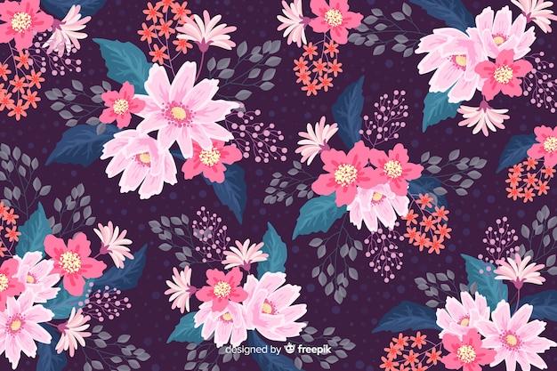 フラットなデザインでカラフルな花の背景