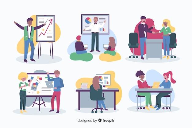 フラットなデザインのオフィスで働く人々