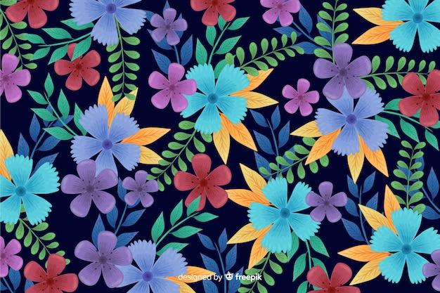 黒の背景に手描きの自然の花