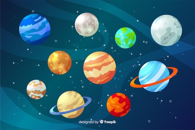 カラフルなフラットデザインの惑星コレクション