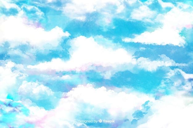 水彩の白い雲の背景