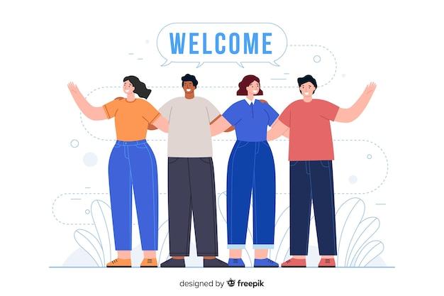歓迎の挨拶でお互いを抱き締める人々