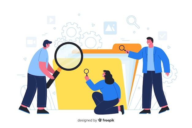 ランディングページのフォルダーを検索するユーザー