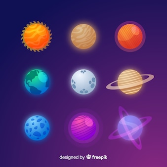 カラフルなフラットデザインの惑星バッチ