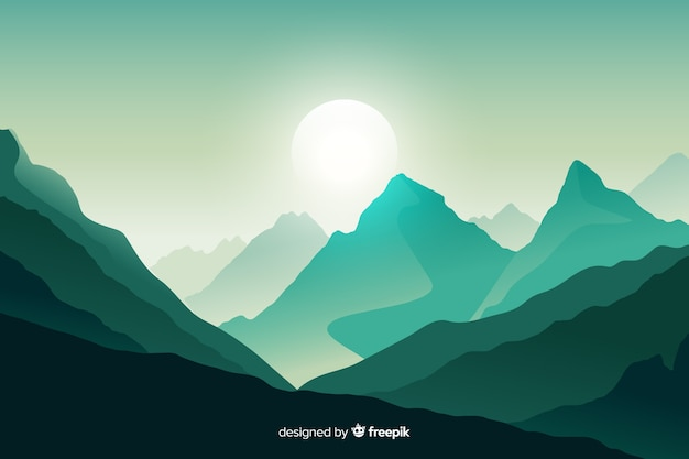 緑の山の風景の背景